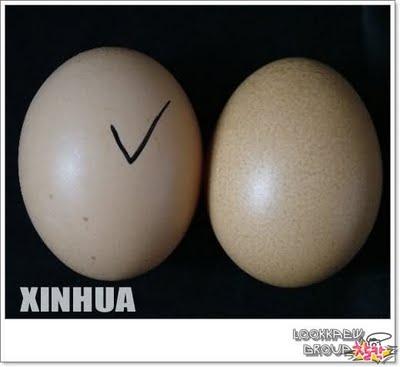 """TelurYangBertanda""""Betul""""DlmImejINI=telurpalsuyangkelihatanAgakCerah&LicinberbandingtelurASLI"""